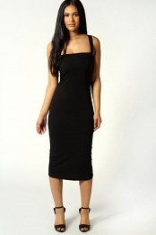 Black Jen Scoop Neck Jersey Bodycon Vest Dress