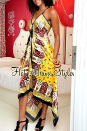 Yellow Paisley Satin Scarf Babydoll Dress