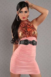Coral Leopard Top Ruched Belted Dress