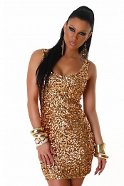 Gold Sequined Sleeveless Club Dress