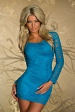 Turquoise Lace Bodycon Mini Dress With Long Sleeves
