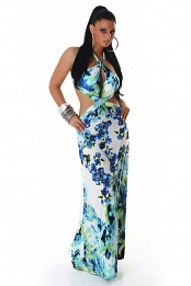 Blue Flower Print Criss-Cross Straps Long Summer Dress