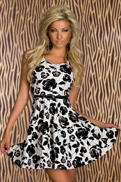 White Flower Print Belted Flared Cocktail Dress