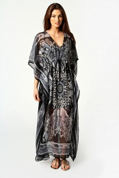 Black Dolly V Neck Paisley Neon Kaftan Dress