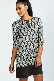 Rita 3/4 Sleeve Paisley Panelled Shift Dress