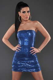 Blue Sequined Strapless Slinky Club Dress