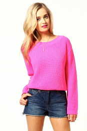 Pink Lydia Crop Knit Jumper