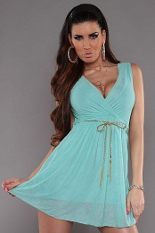 Mint Sexy KouCla Minidress With V-Neck Snd Belt