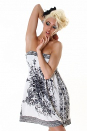 White Strapless Summer Dress With Ornament