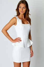 White Olivia Square Neck Peplum Bodycon Dress
