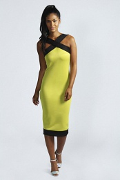 Lime Kelly Contrast Band Midi Dress