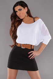 White Top Black Skirt Off-Shoulder Belted Dress