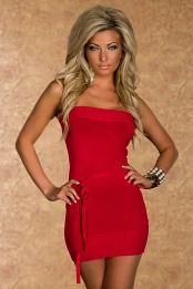 Red Strapless Knitted Mini Dress With Thin Belt