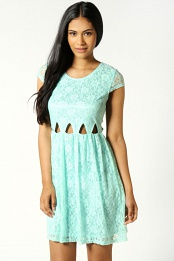 Mint Faye Cut Out Waist Lace Skater Dress
