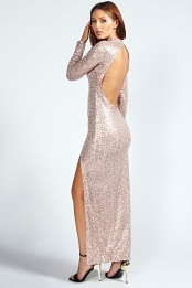 Nude Charmaine Sequin Maxi Dress