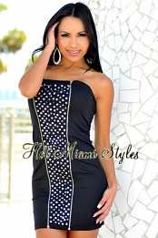 Black Zippers Studded Strapless Dress
