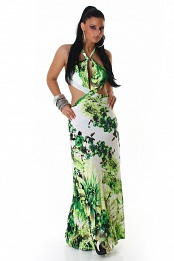 Green Flower Print Criss-Cross Straps Long Summer Dress