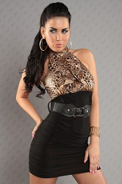 Black Leopard Top Ruched Belted Dress
