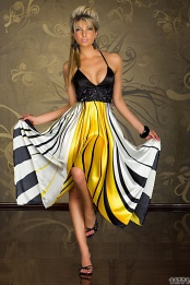 Black Yellow White Stripes Atlas Dress