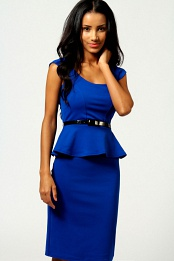 Blue Keeley Peplum Belted Midi Dress
