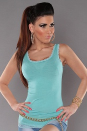 Mint Tank Top With Lace