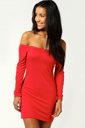 Red Alice Off The Shoulder Long Sleeve Bodycon Dress