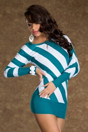 Teal-White Striped Knitted Sweater Dress