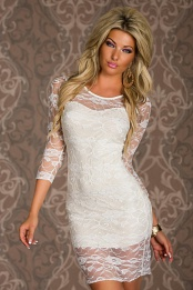 White 3/4 Sleeves Short Lace Dress