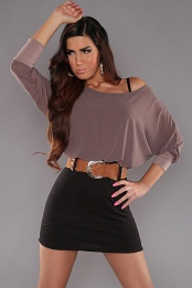 Brown Top Black Skirt Off-Shoulder Belted Dress
