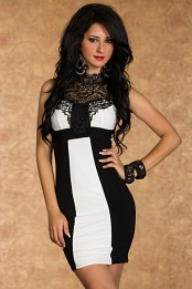 Black-White Fitted Dress With Lace Decollete