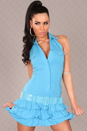 Turquoise Ruffled Mini-Dress With Belt