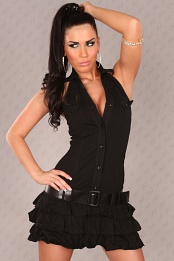 Black Ruffled Mini-Dress With Belt