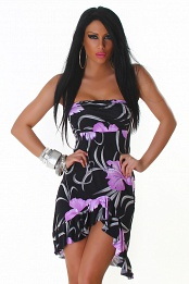 Black Strapless Ruffled Summer Dress With Purple Flowers