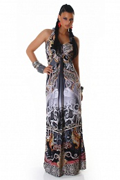 Grey Ornament Halter Long Summer Dress