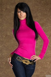 Fuchsia Long Sleeves Turtleneck Sweater