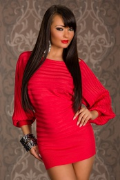 Red Short Sweater Dress With Wide Sleeves