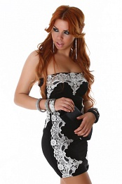 Black Strapless Evening Dress With Silver Lace Insets