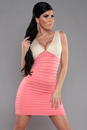 Coral-Cream Two-Color V-Neck Pleated Slinky Dress