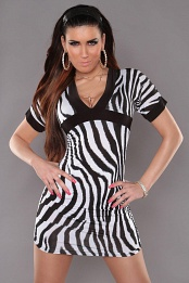 Zebra Sexy Minidress With V-neck
