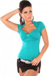 Teal Sexy Bolero Top Short Arms