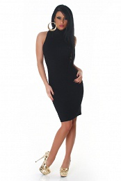 Black High-Neck Sleeveless Sweater Dress