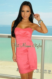 Deep Pink Pleated Padded Strapless Dress