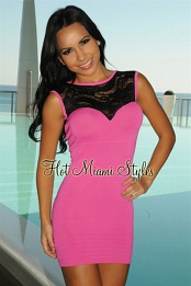 Fuchsia Black Lace Bandage Dress