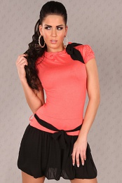 Coral Short Sleeves Bubble Skirt Belted Dress