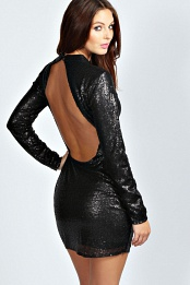 Black Roberta High Neck Cut Out Back Sequin Body Dress