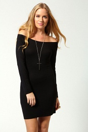 Black Alice Off The Shoulder Long Sleeve Bodycon Dress