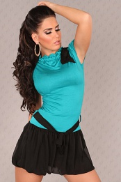 Teal Short Sleeves Bubble Skirt Belted Dress