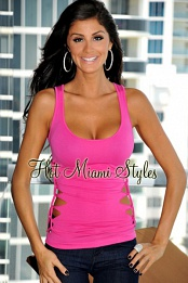 Fuchsia Slash Cut Away Seamless Top