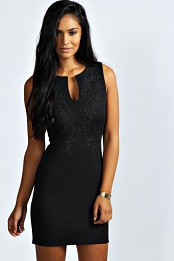 Black Alicia Embellished V Neck Bodycon Dress