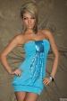 Turquoise Sequined Strapless Club Dress